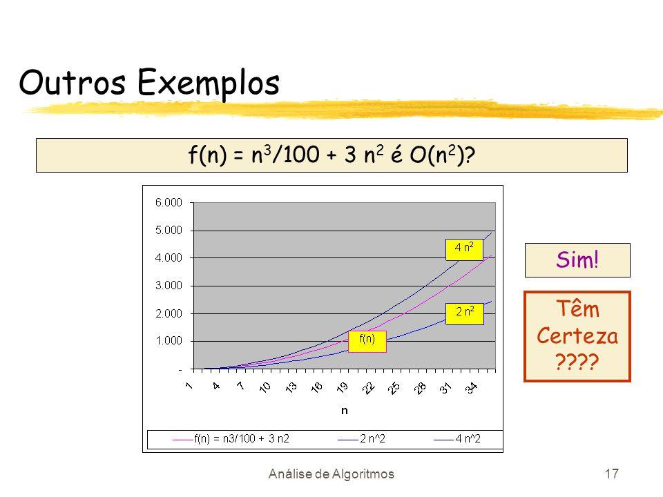 Análise de Algoritmos17 f(n) = n 3 /100 + 3 n 2 é O(n 2 )? Sim! Têm Certeza ???? Outros Exemplos