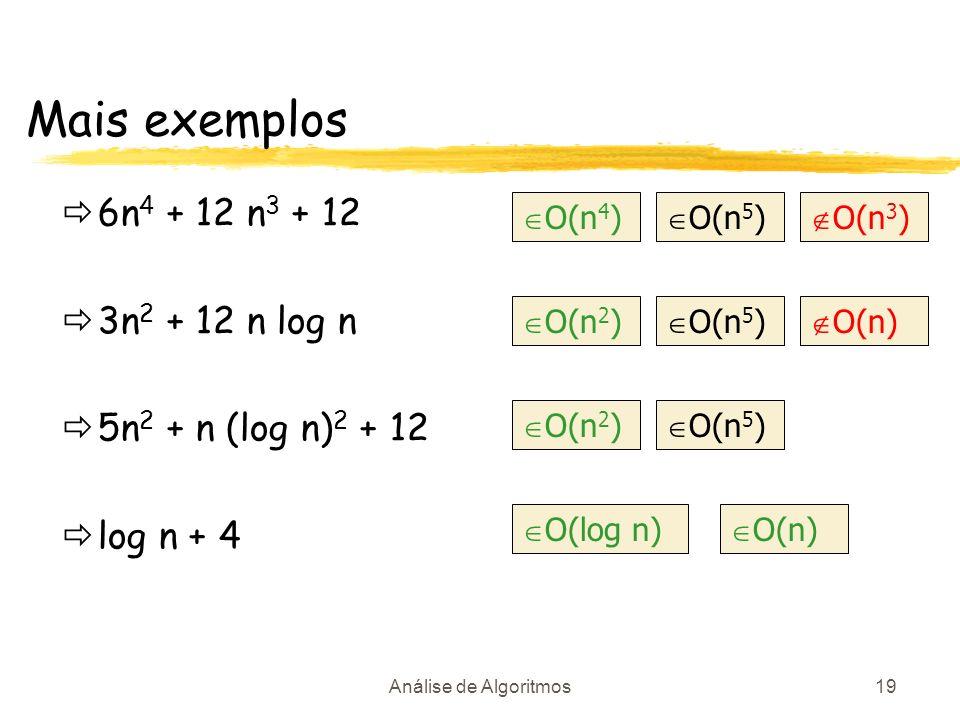 Análise de Algoritmos19 Mais exemplos 6n 4 + 12 n 3 + 12 3n 2 + 12 n log n 5n 2 + n (log n) 2 + 12 log n + 4 O(n 4 ) O(n 5 ) O(n 3 ) O(n 2 ) O(n 5 ) O