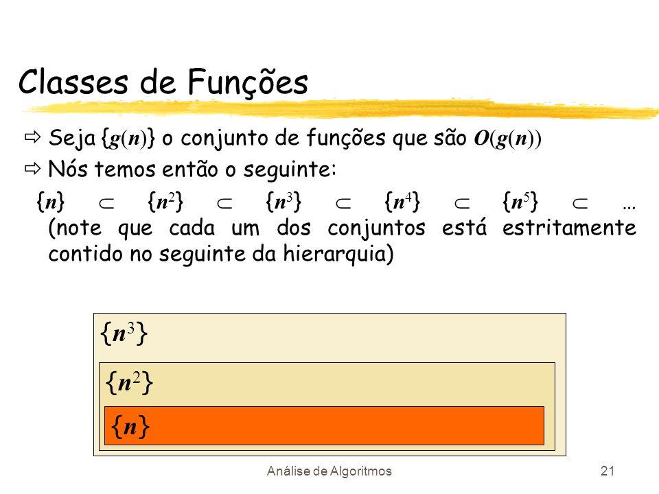 Análise de Algoritmos21 {n3}{n3} {n2}{n2} Classes de Funções Seja { g(n) } o conjunto de funções que são O(g(n)) Nós temos então o seguinte: { n } { n