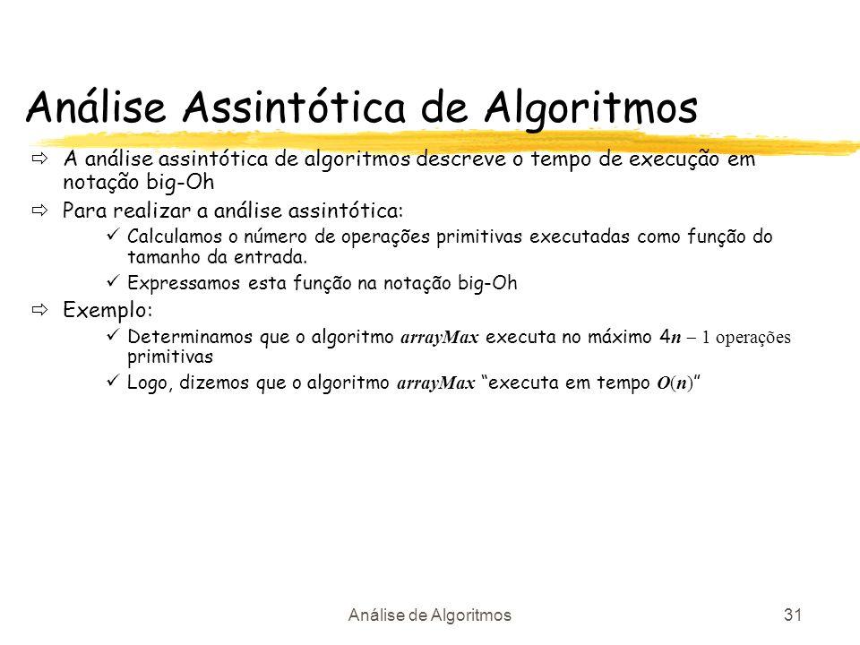 Análise de Algoritmos31 Análise Assintótica de Algoritmos A análise assintótica de algoritmos descreve o tempo de execução em notação big-Oh Para real
