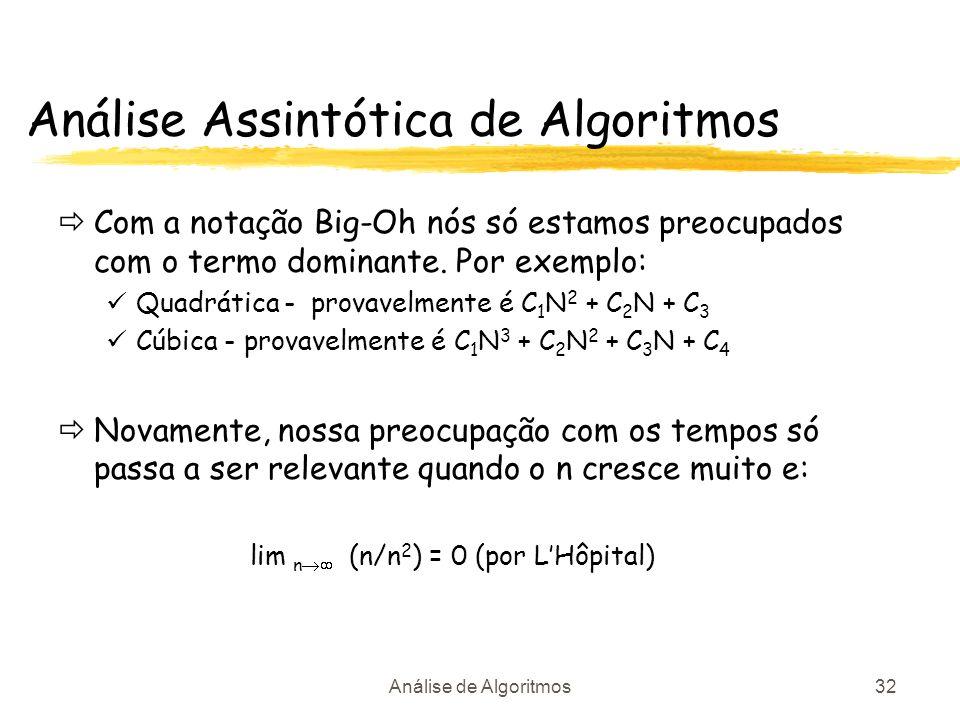 Análise de Algoritmos32 Análise Assintótica de Algoritmos Com a notação Big-Oh nós só estamos preocupados com o termo dominante. Por exemplo: Quadráti
