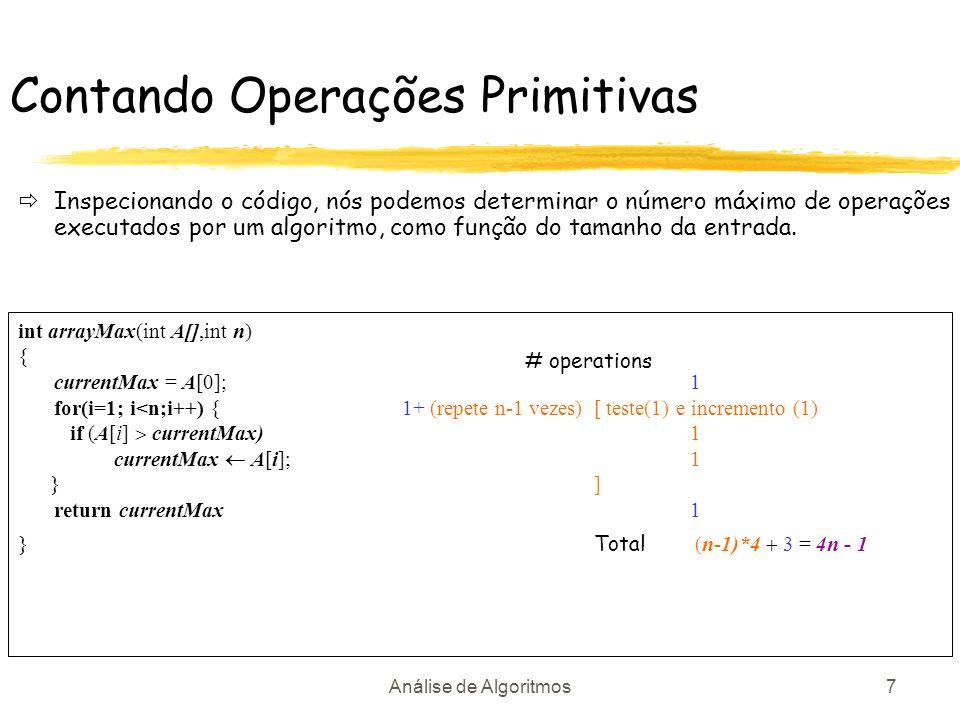 Análise de Algoritmos7 Contando Operações Primitivas Inspecionando o código, nós podemos determinar o número máximo de operações executados por um alg