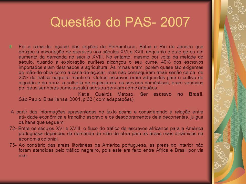 Questão do PAS- 2007 Foi a cana-de- açúcar das regiões de Pernambuco, Bahia e Rio de Janeiro que obrigou a importação de escravos nos séculos XVI e XV