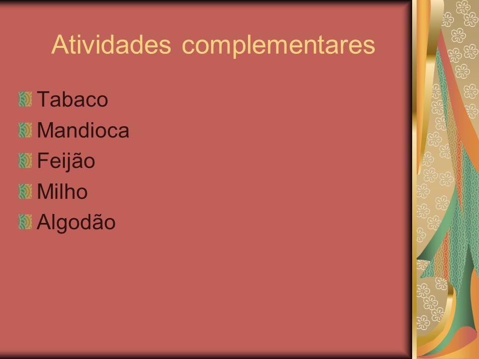 Atividades complementares Tabaco Mandioca Feijão Milho Algodão