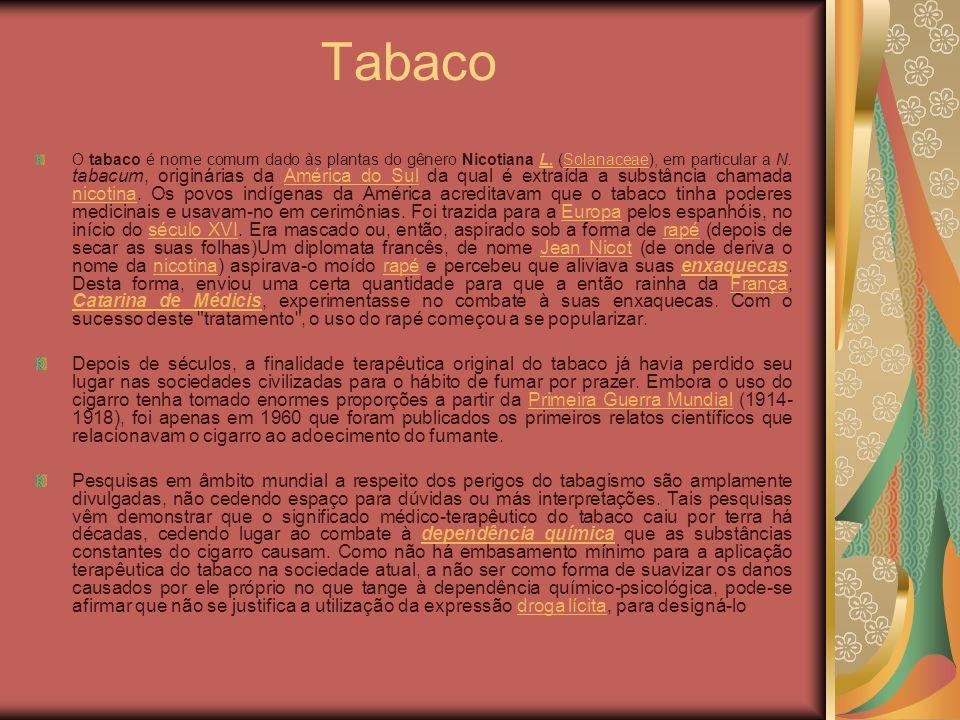 Tabaco O tabaco é nome comum dado às plantas do gênero Nicotiana L. (Solanaceae), em particular a N. tabacum, originárias da América do Sul da qual é