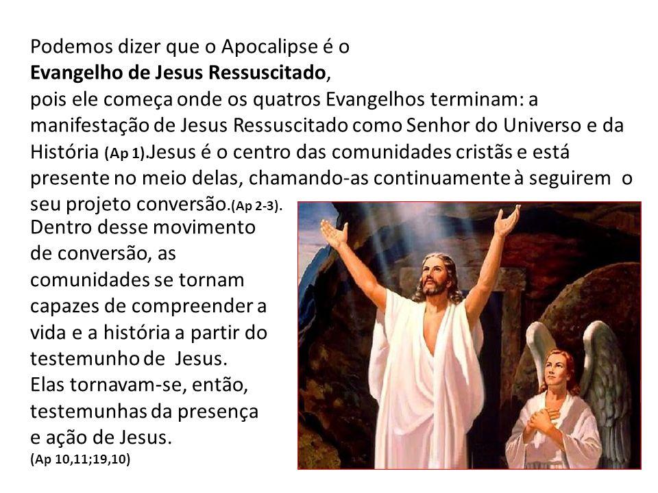 Podemos dizer que o Apocalipse é o Evangelho de Jesus Ressuscitado, pois ele começa onde os quatros Evangelhos terminam: a manifestação de Jesus Ressu
