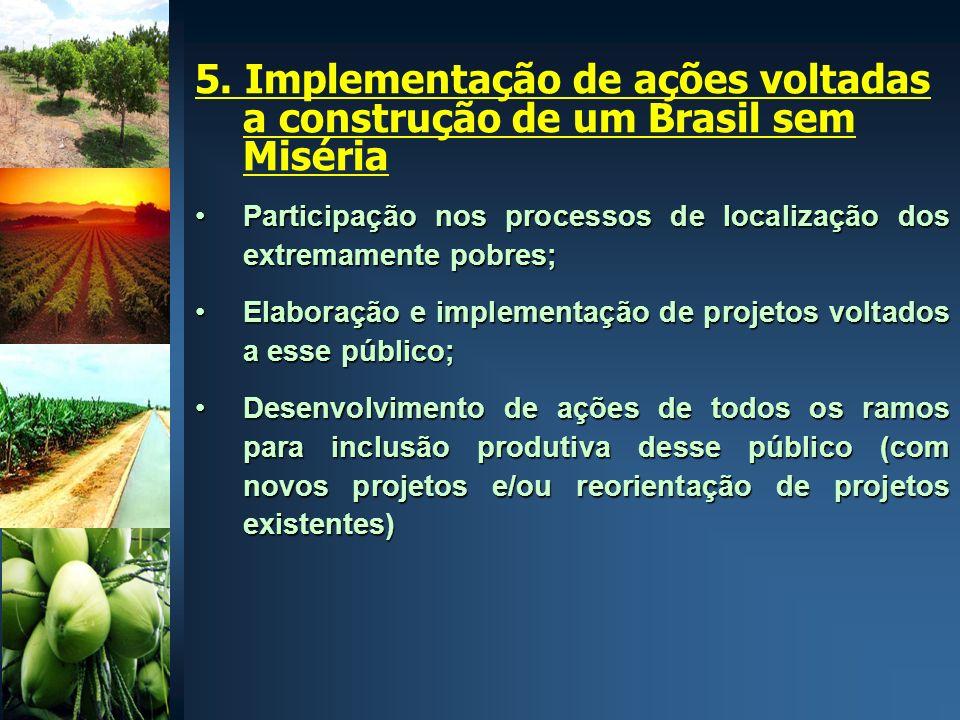 5. Implementação de ações voltadas a construção de um Brasil sem Miséria Participação nos processos de localização dos extremamente pobres;Participaçã