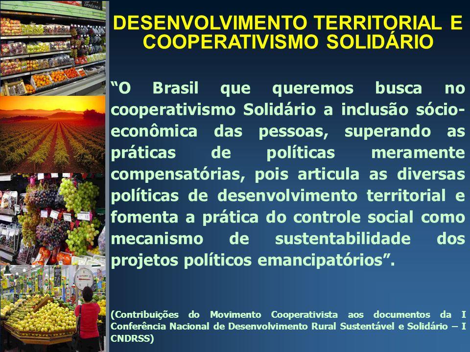 DESENVOLVIMENTO TERRITORIAL E COOPERATIVISMO SOLIDÁRIO O Brasil que queremos busca no cooperativismo Solidário a inclusão sócio- econômica das pessoas