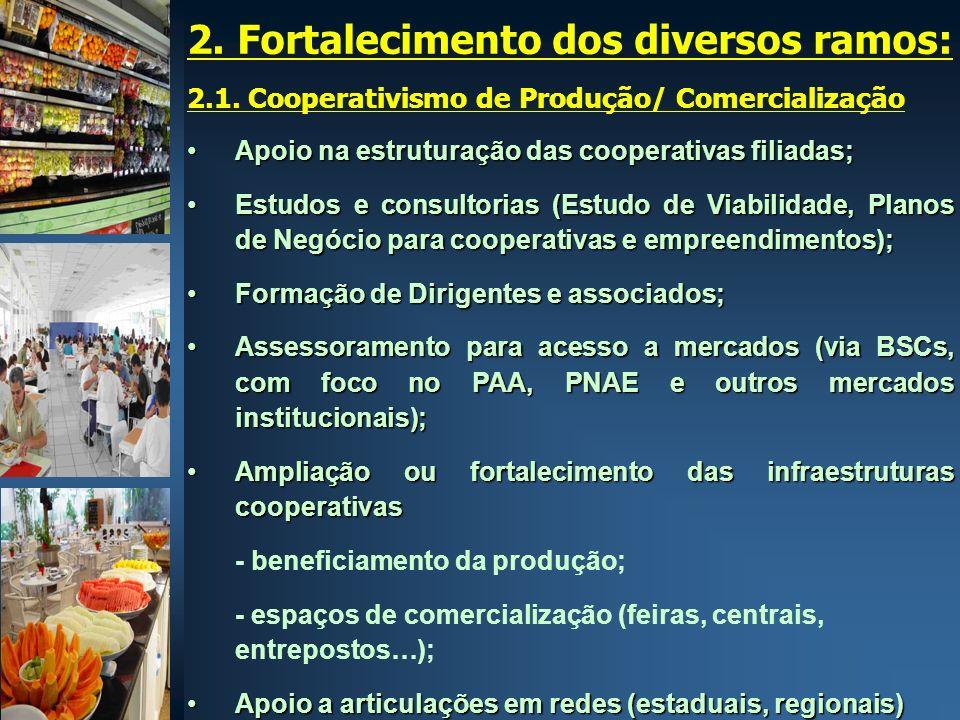 2. Fortalecimento dos diversos ramos: 2.1. Cooperativismo de Produção/ Comercialização Apoio na estruturação das cooperativas filiadas;Apoio na estrut