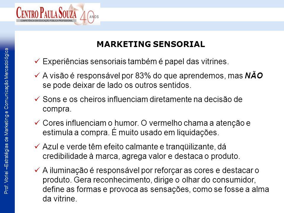 Prof. Vorlei –Estratégias de Marketing e Comunicação Mercadológica Experiências sensoriais também é papel das vitrines. A visão é responsável por 83%