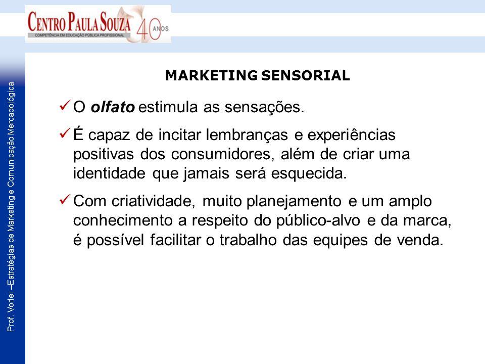Prof. Vorlei –Estratégias de Marketing e Comunicação Mercadológica O olfato estimula as sensações. É capaz de incitar lembranças e experiências positi