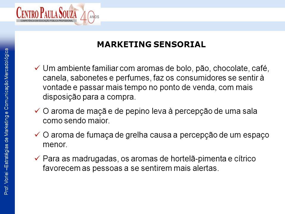 Prof. Vorlei –Estratégias de Marketing e Comunicação Mercadológica Um ambiente familiar com aromas de bolo, pão, chocolate, café, canela, sabonetes e