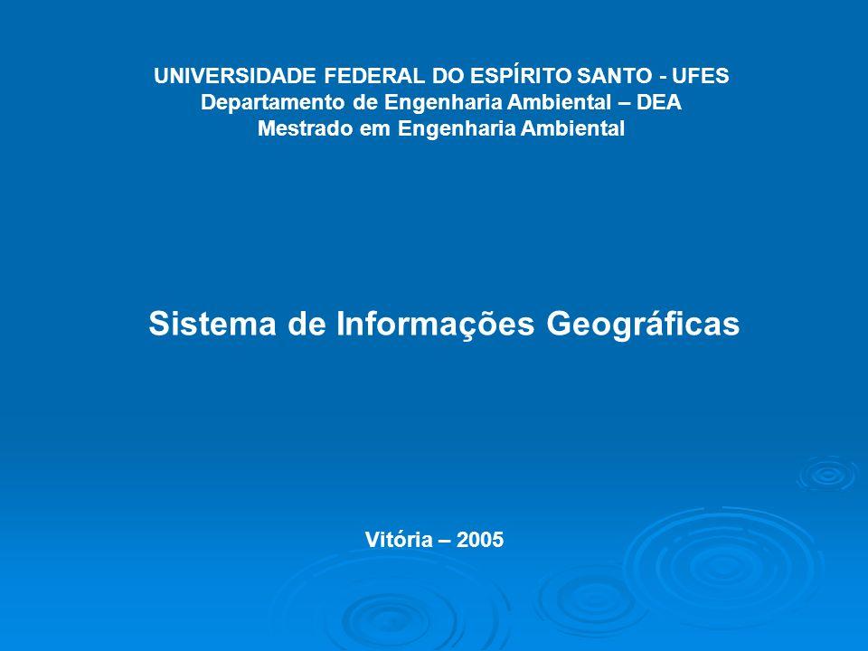 UNIVERSIDADE FEDERAL DO ESPÍRITO SANTO - UFES Departamento de Engenharia Ambiental – DEA Mestrado em Engenharia Ambiental Sistema de Informações Geogr