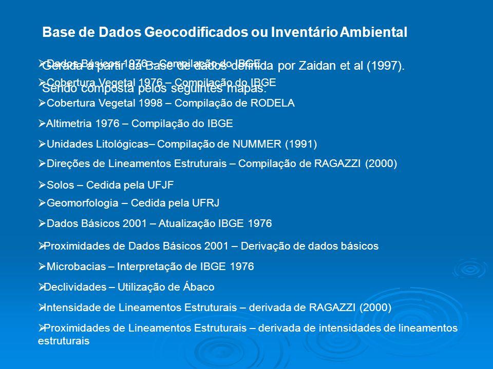 Base de Dados Geocodificados ou Inventário Ambiental Gerada a partir da Base de dados definida por Zaidan et al (1997). Sendo composta pelos seguintes