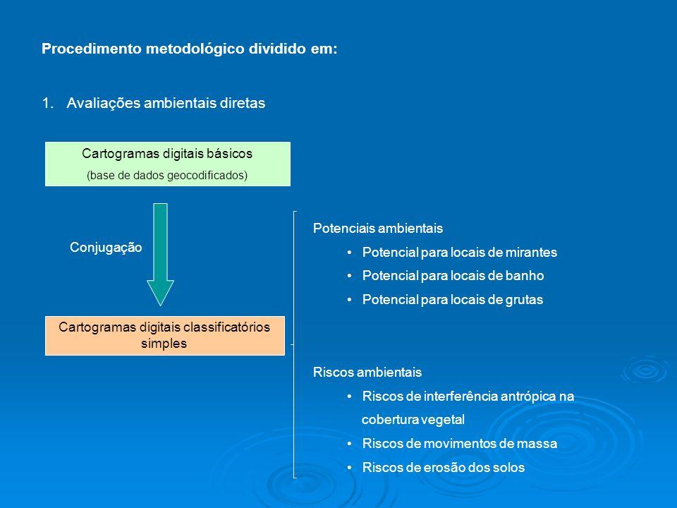 Procedimento metodológico dividido em: 1.Avaliações ambientais diretas Cartogramas digitais básicos (base de dados geocodificados) Cartogramas digitai