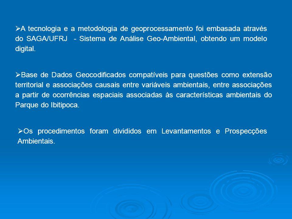 A tecnologia e a metodologia de geoprocessamento foi embasada através do SAGA/UFRJ - Sistema de Análise Geo-Ambiental, obtendo um modelo digital. Base