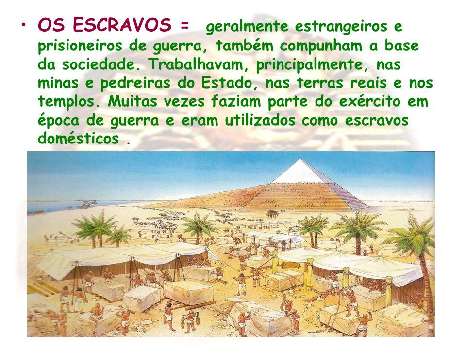 ORGANIZAÇÃO ECONÔMICA A agricultura era a base da economia egípcia e, como já vimos, dependia das águas do Nilo.O trigo, a cevada, os legumes e as uvas constituíam as principais culturas.