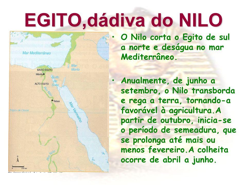 EGITO,dádiva do NILO O Nilo corta o Egito de sul a norte e deságua no mar Mediterrâneo. Anualmente, de junho a setembro, o Nilo transborda e rega a te