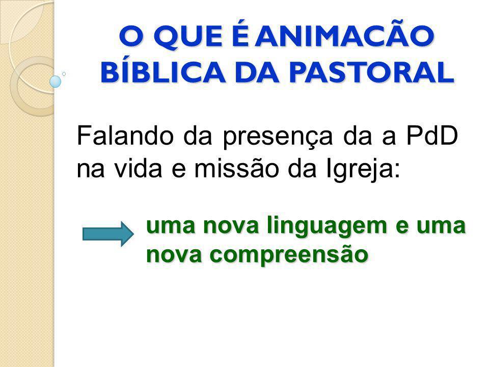 O QUE É ANIMACÃO BÍBLICA DA PASTORAL Falando da presença da a PdD na vida e missão da Igreja: uma nova linguagem e uma nova compreensão