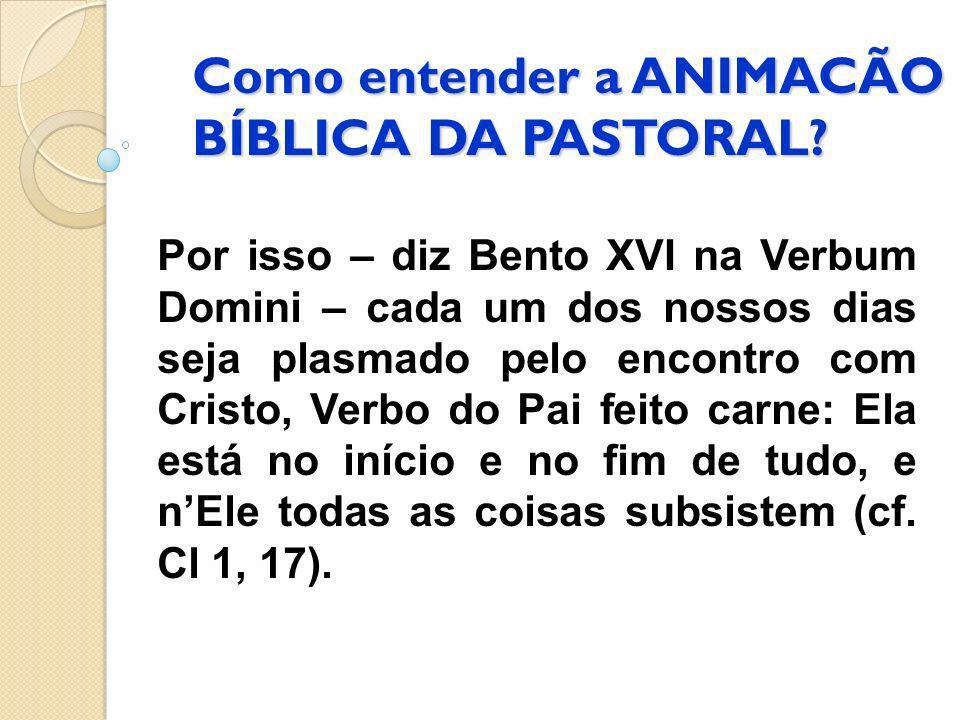 Como entender a ANIMACÃO BÍBLICA DA PASTORAL? Por isso – diz Bento XVI na Verbum Domini – cada um dos nossos dias seja plasmado pelo encontro com Cris