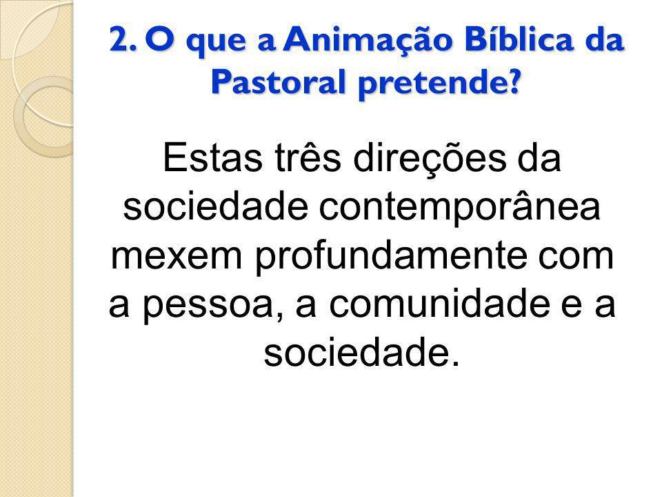 2. O que a Animação Bíblica da Pastoral pretende? Estas três direções da sociedade contemporânea mexem profundamente com a pessoa, a comunidade e a so