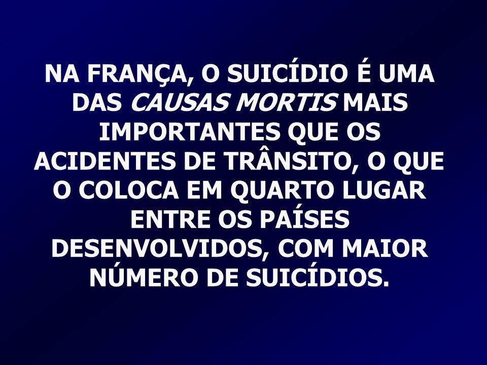 NA FRANÇA, O SUICÍDIO É UMA DAS CAUSAS MORTIS MAIS IMPORTANTES QUE OS ACIDENTES DE TRÂNSITO, O QUE O COLOCA EM QUARTO LUGAR ENTRE OS PAÍSES DESENVOLVI