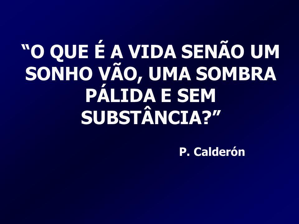 O QUE É A VIDA SENÃO UM SONHO VÃO, UMA SOMBRA PÁLIDA E SEM SUBSTÂNCIA? P. Calderón