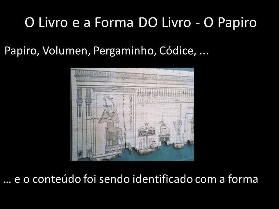 O Livro e a Forma DO Livro - O Papiro Papiro, Volumen, Pergaminho, Códice,... … e o conteúdo foi sendo identificado com a forma