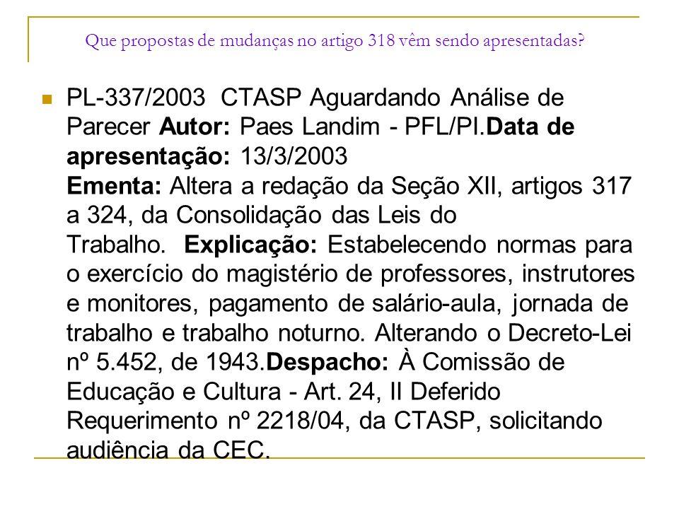 Que propostas de mudanças no artigo 318 vêm sendo apresentadas? PL-337/2003 CTASP Aguardando Análise de Parecer Autor: Paes Landim - PFL/PI.Data de ap