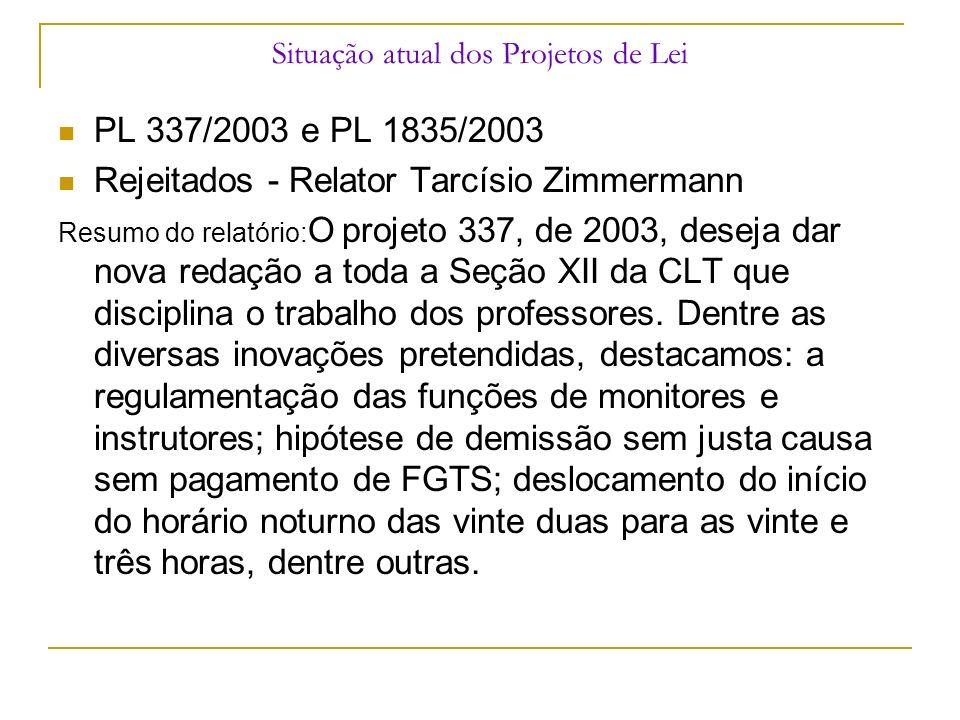 Situação atual dos Projetos de Lei PL 337/2003 e PL 1835/2003 Rejeitados - Relator Tarcísio Zimmermann Resumo do relatório: O projeto 337, de 2003, de