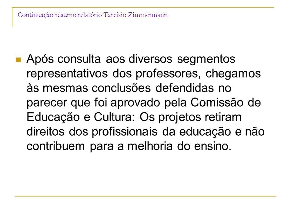 Continuação resumo relatório Tarcísio Zimmermann Após consulta aos diversos segmentos representativos dos professores, chegamos às mesmas conclusões d