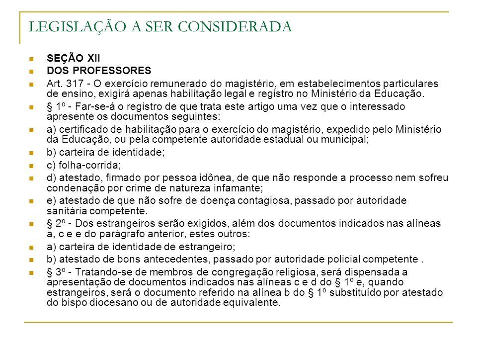 SEÇÃO XII DOS PROFESSORES Art. 317 - O exercício remunerado do magistério, em estabelecimentos particulares de ensino, exigirá apenas habilitação lega