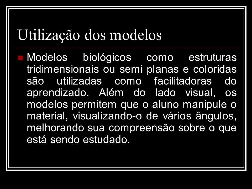 Utilização dos modelos Modelos biológicos como estruturas tridimensionais ou semi planas e coloridas são utilizadas como facilitadoras do aprendizado.
