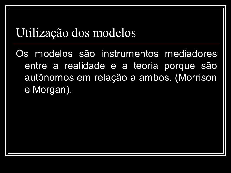 Utilização dos modelos Os modelos são instrumentos mediadores entre a realidade e a teoria porque são autônomos em relação a ambos. (Morrison e Morgan