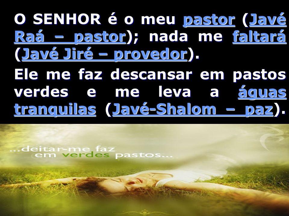 O SENHOR é o meu pastor (Javé Raá – pastor); nada me faltará (Javé Jiré – provedor). Ele me faz descansar em pastos verdes e me leva a águas tranquila