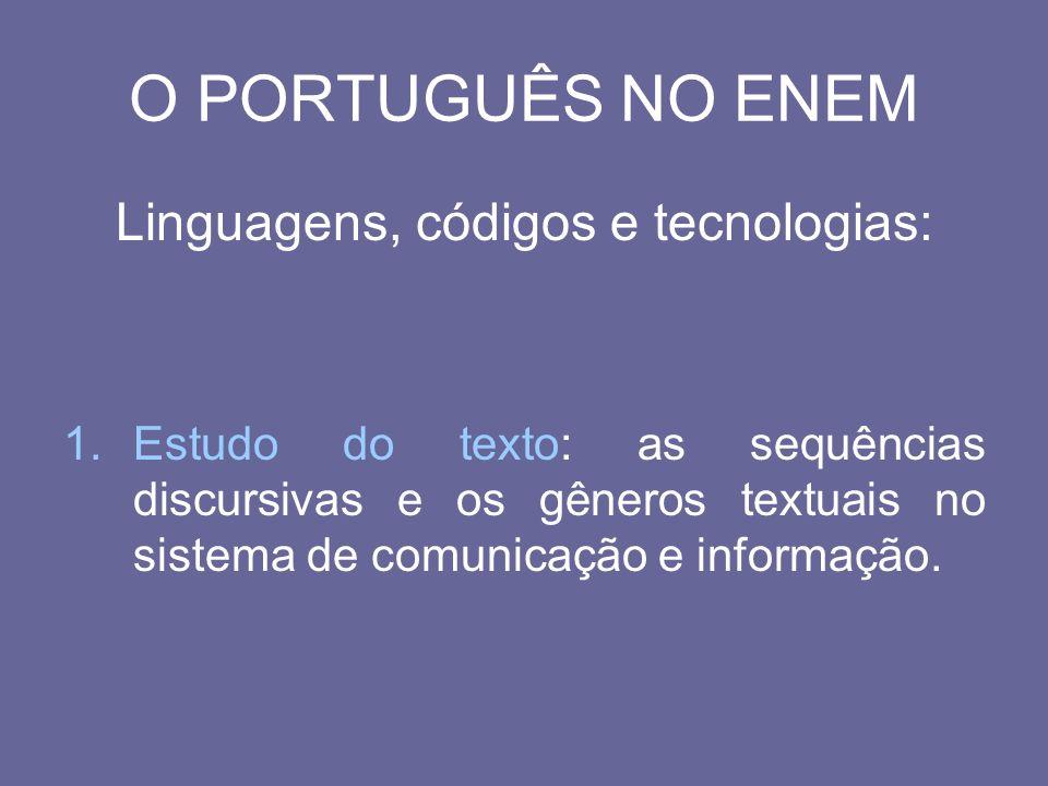 O PORTUGUÊS NO ENEM Linguagens, códigos e tecnologias: 1.Estudo do texto: as sequências discursivas e os gêneros textuais no sistema de comunicação e