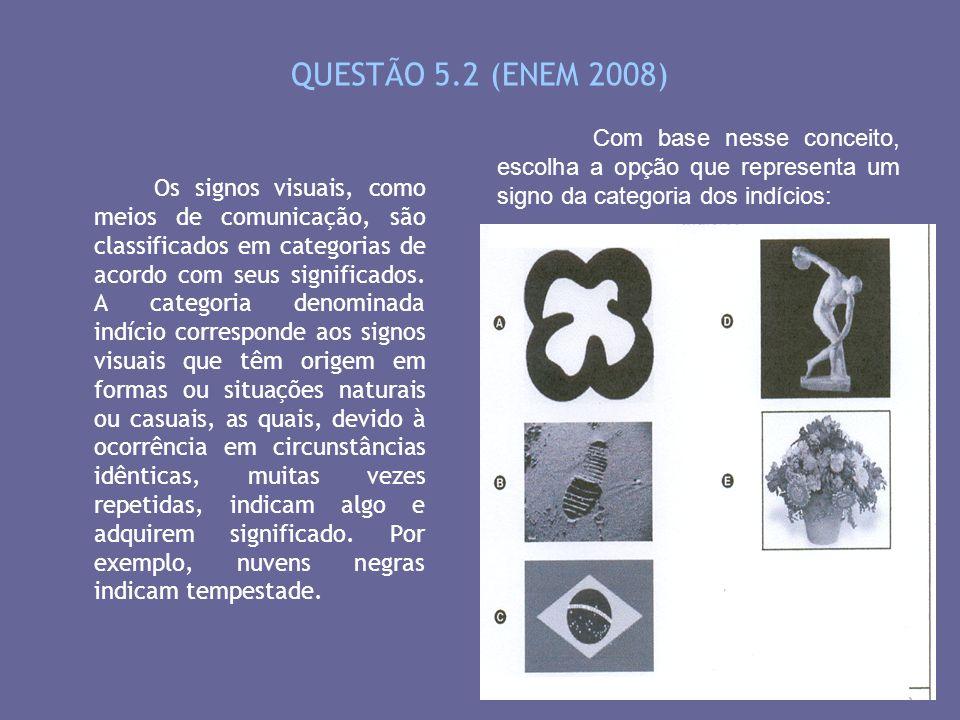 QUESTÃO 5.2 (ENEM 2008) Os signos visuais, como meios de comunicação, são classificados em categorias de acordo com seus significados. A categoria den
