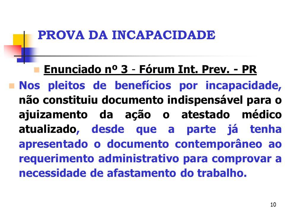 10 PROVA DA INCAPACIDADE Enunciado nº 3 - Fórum Int. Prev. - PR Nos pleitos de benefícios por incapacidade, não constituiu documento indispensável par