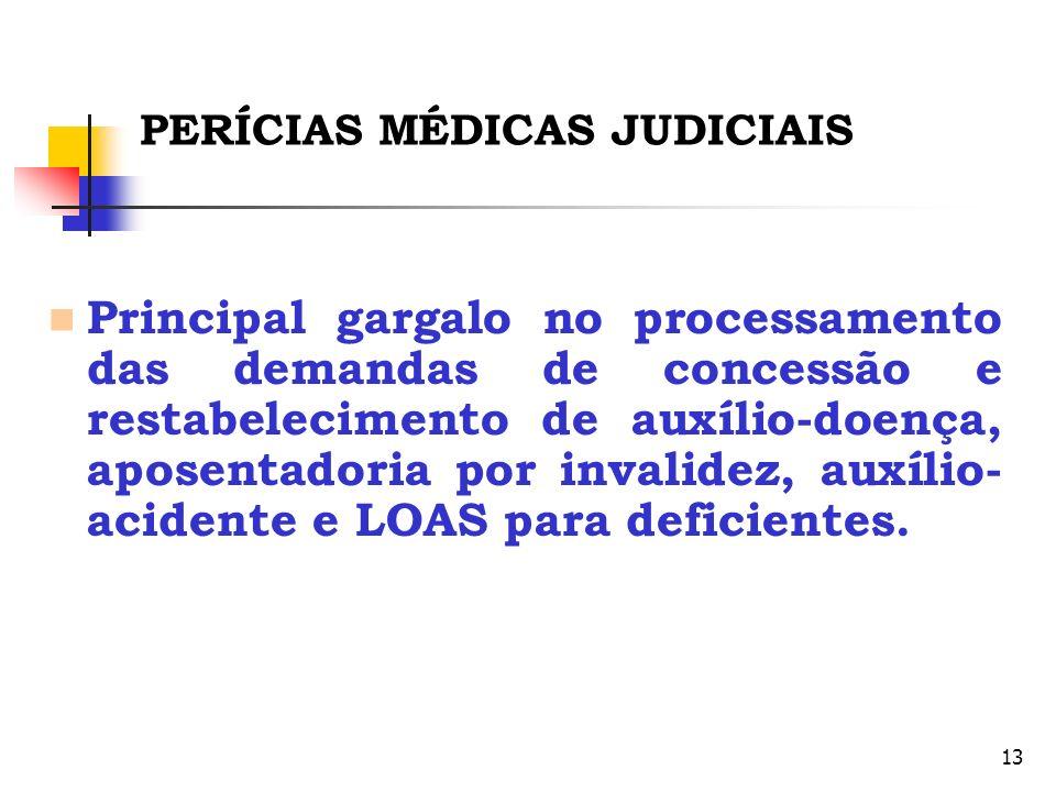 13 PERÍCIAS MÉDICAS JUDICIAIS Principal gargalo no processamento das demandas de concessão e restabelecimento de auxílio-doença, aposentadoria por inv