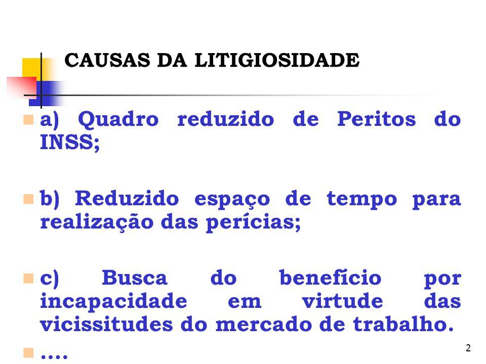 2 CAUSAS DA LITIGIOSIDADE a) Quadro reduzido de Peritos do INSS; b) Reduzido espaço de tempo para realização das perícias; c) Busca do benefício por i