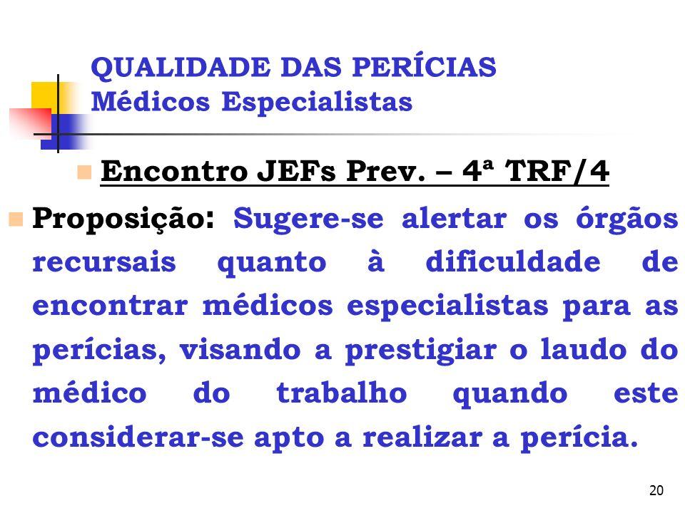 20 QUALIDADE DAS PERÍCIAS Médicos Especialistas Encontro JEFs Prev. – 4ª TRF/4 Proposição : Sugere-se alertar os órgãos recursais quanto à dificuldade