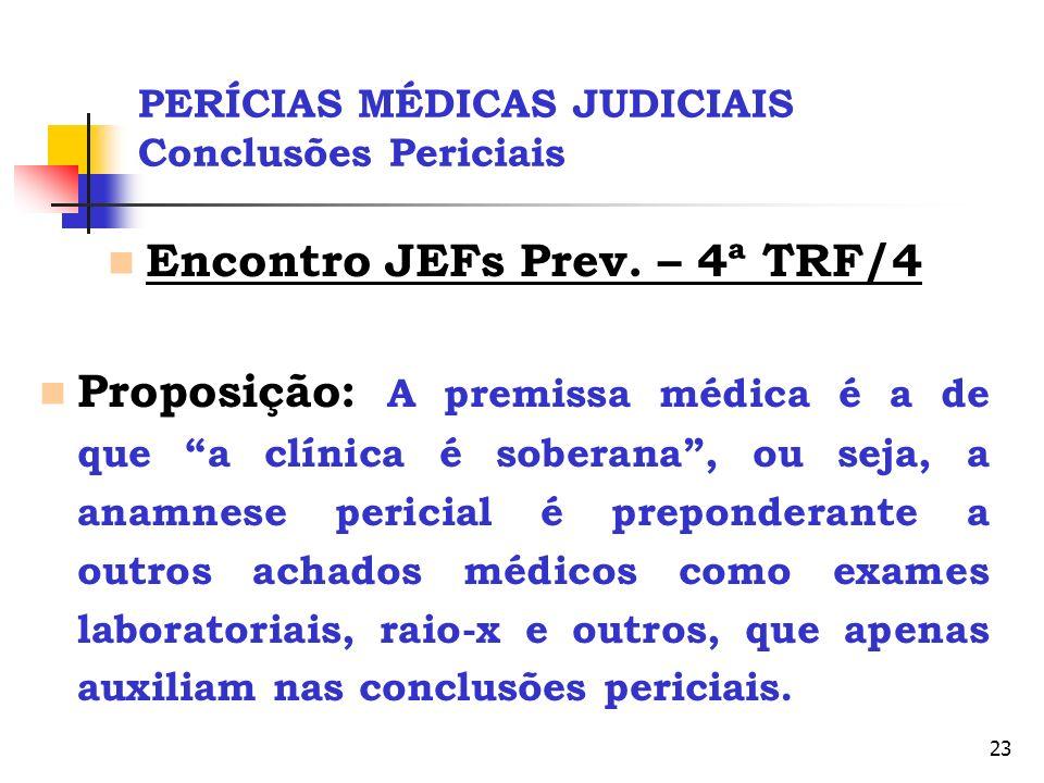 23 PERÍCIAS MÉDICAS JUDICIAIS Conclusões Periciais Encontro JEFs Prev. – 4ª TRF/4 Proposição: A premissa médica é a de que a clínica é soberana, ou se