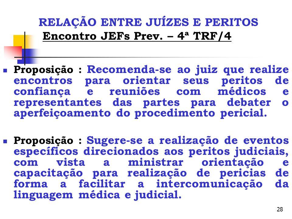 28 RELAÇÃO ENTRE JUÍZES E PERITOS Encontro JEFs Prev. – 4ª TRF/4 Proposição : Recomenda-se ao juiz que realize encontros para orientar seus peritos de