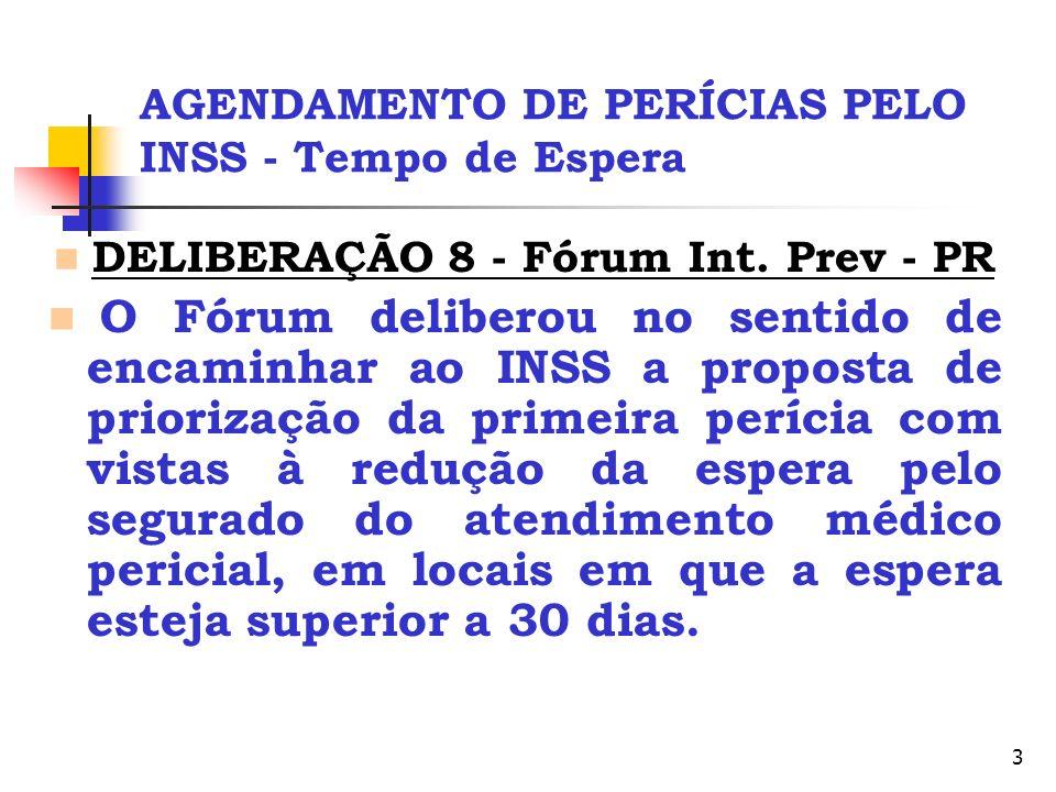 3 AGENDAMENTO DE PERÍCIAS PELO INSS - Tempo de Espera DELIBERAÇÃO 8 - Fórum Int. Prev - PR O Fórum deliberou no sentido de encaminhar ao INSS a propos