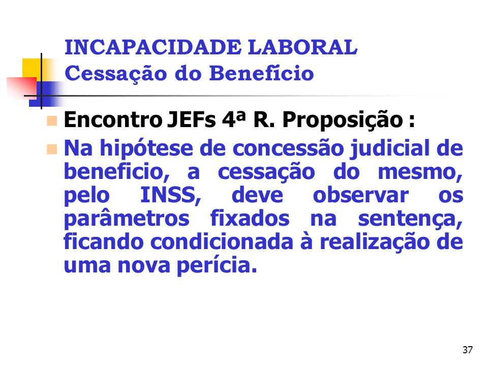 37 INCAPACIDADE LABORAL Cessação do Benefício Encontro JEFs 4ª R. Proposição : Na hipótese de concessão judicial de beneficio, a cessação do mesmo, pe