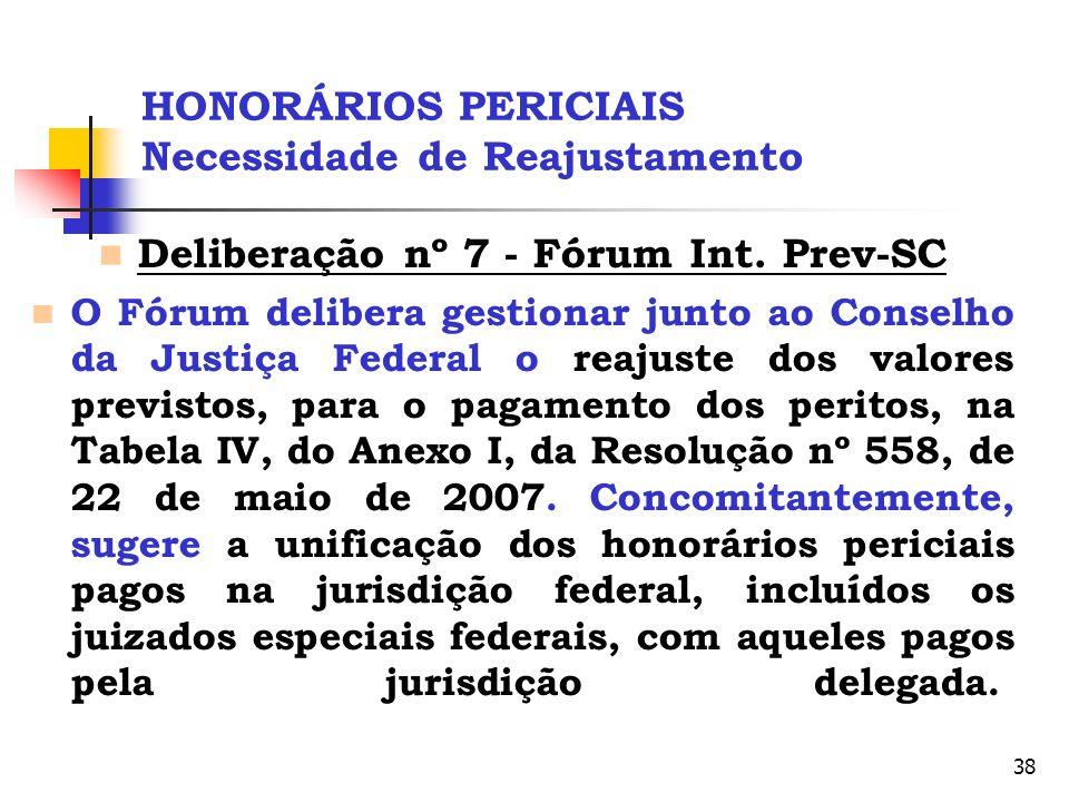 38 HONORÁRIOS PERICIAIS Necessidade de Reajustamento Deliberação nº 7 - Fórum Int. Prev-SC O Fórum delibera gestionar junto ao Conselho da Justiça Fed