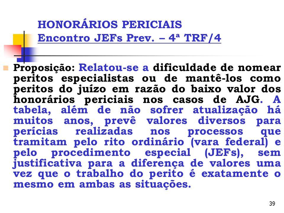 39 HONORÁRIOS PERICIAIS Encontro JEFs Prev. – 4ª TRF/4 Proposição: Relatou-se a dificuldade de nomear peritos especialistas ou de mantê-los como perit