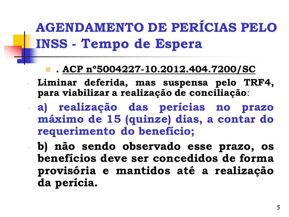 5 AGENDAMENTO DE PERÍCIAS PELO INSS - Tempo de Espera. ACP nº5004227-10.2012.404.7200/SC - Liminar deferida, mas suspensa pelo TRF4, para viabilizar a