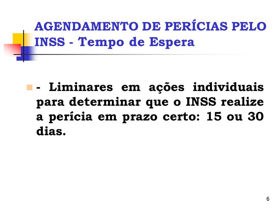 6 AGENDAMENTO DE PERÍCIAS PELO INSS - Tempo de Espera - Liminares em ações individuais para determinar que o INSS realize a perícia em prazo certo: 15