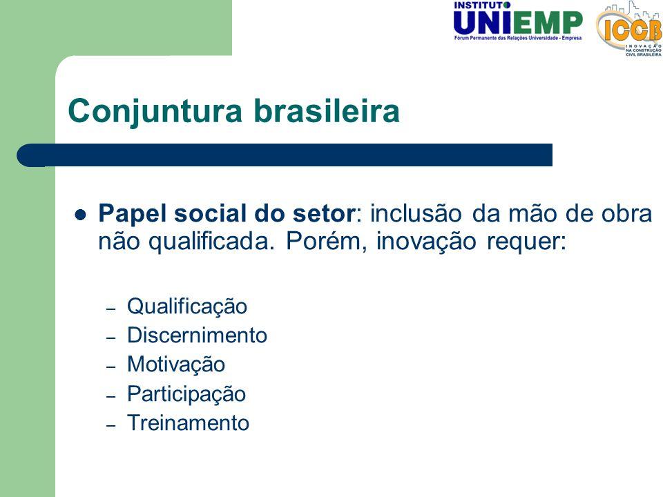 Conjuntura brasileira Papel social do setor: inclusão da mão de obra não qualificada. Porém, inovação requer: – Qualificação – Discernimento – Motivaç